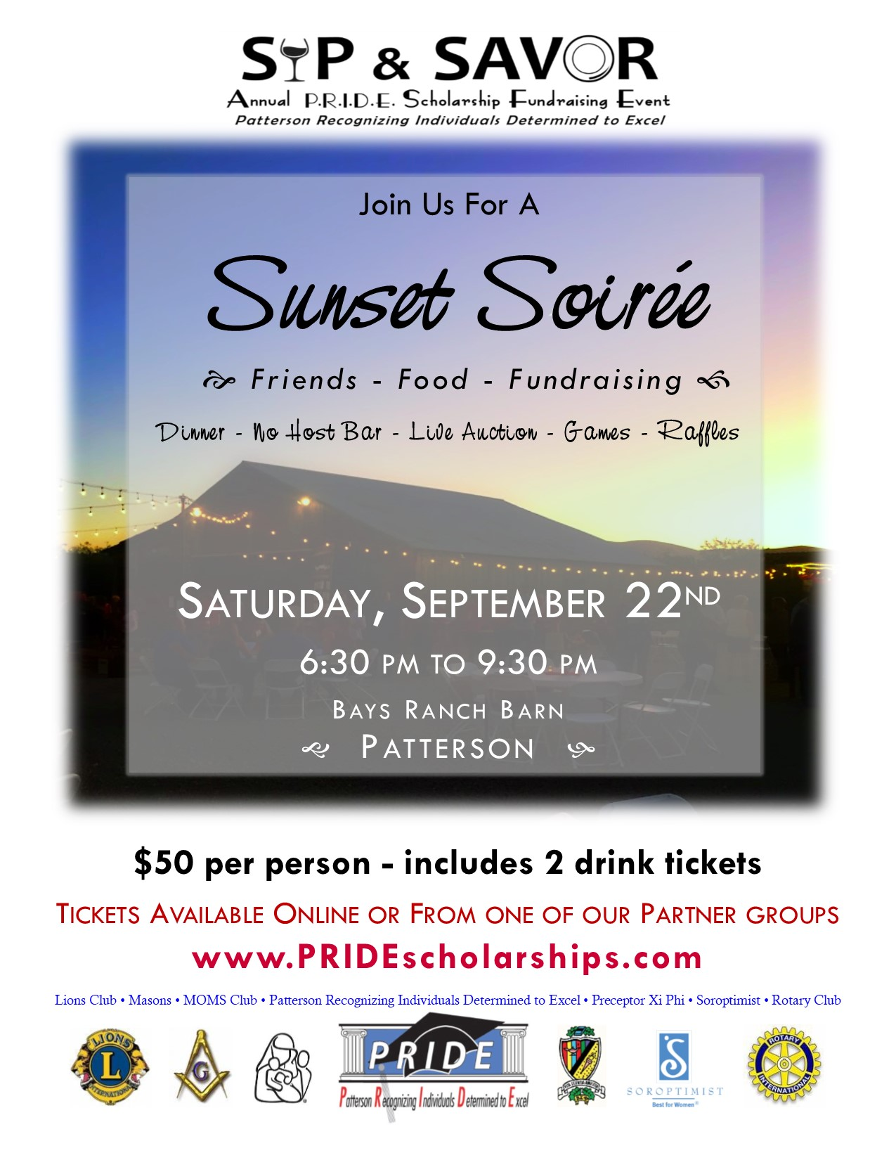 Sip and Savor PRIDE Scholarship Event